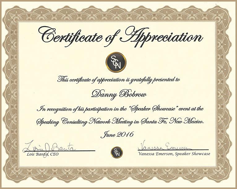 Testimonials danny bobrow certificate of appreciation danny bobrow yelopaper Choice Image